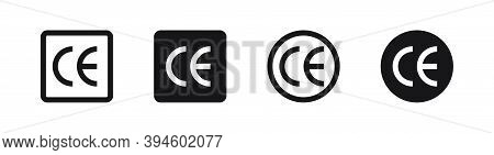 Ce Mark Icon Set. Isolated Vector Certificate Mark. Sign Symbol Illustration