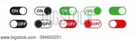 Switch Toggle Buttons. On And Off Vector Icons Set In Flat Style. App Interface