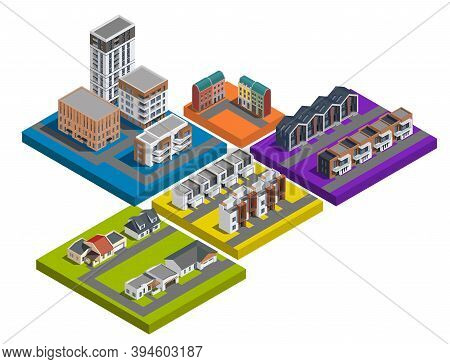 Suburban City Buildings Isometric Set Of Colourful Isolated Platforms With Low Rise Apartment And To