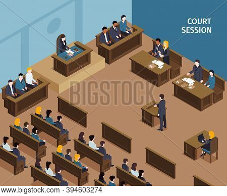 Isometric Justice Law Composition With Text And Indoor Scenery Of Public Hearing In Court With Peopl