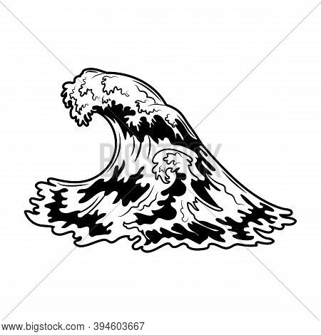 Vintage Sea Wave Vector Illustration. Monochrome Ocean High Water And Wave For Promotional Label. Ha