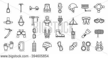 City Industrial Climber Icons Set. Outline Set Of City Industrial Climber Vector Icons For Web Desig