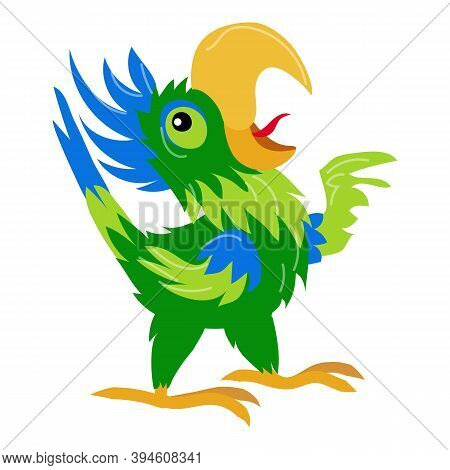 Singing Parrot Icon. Cartoon Of Singing Parrot Vector Icon For Web Design Isolated On White Backgrou