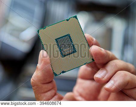 computer procesor close-up, selective focus