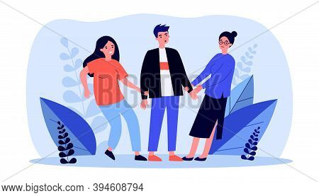 Girls Struggling For Guy. Two Women Pulling Hands Of One Man Flat Vector Illustration. Jealousy, Lov