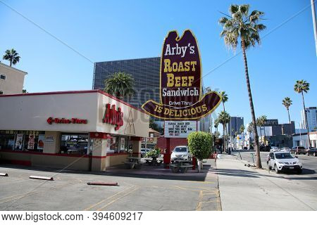 Hollywood, California / USA - November 10, 2020: Arby's Roast Beef Sandwich restaurant. Fast food restaurant in Hollywood California.  Editorial Use Only