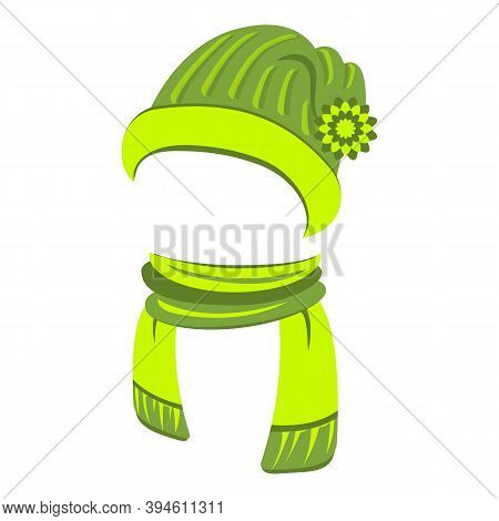 Sports Hat And Scarf Icon. Cartoon Of Sports Hat And Scarf Vector Icon For Web Design Isolated On Wh