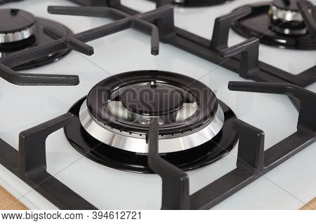 Gas Stove Burner Close-up. Empty Gas Hob In The Kitchen Interior.