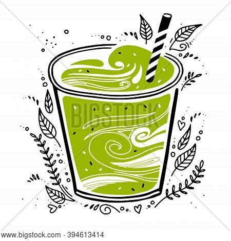 Smoothie Fresh. Detox Smoothie In Doodle Style. Vector Illustration On White Background With Breakfa