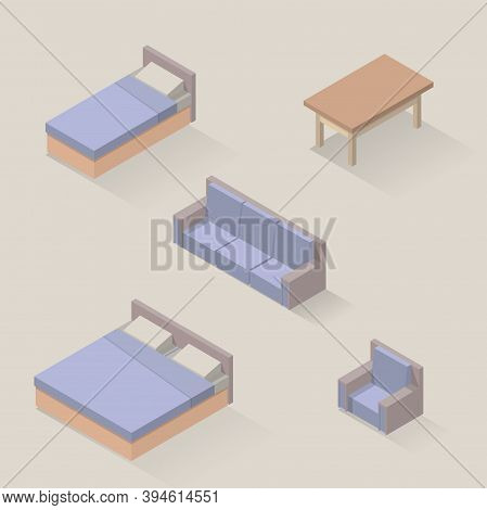 Vector Isometric Set Of Bedroom Furniture. Bed, Armchair, Sofa, Wooden Table, Double Bed, Made In So