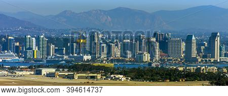 San  Diego, Ca - November 3, 2016:view Of The City Of San Diego Against The Mountains, California, U