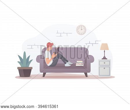 Reading Book. Colored Flat Vector Illustration. A Person Reads A Book While Lying On The Sofa. Isola
