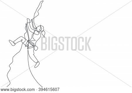 One Single Line Drawing Young Active Woman Climbing On Cliff Mountain Holding Safety Rope Vector Ill