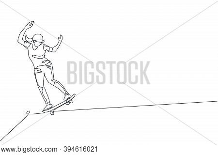 One Continuous Line Drawing Young Cool Skateboarder Man Riding Skateboard Doing A Slide Trick In Ska