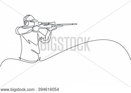 Single Continuous Line Drawing Of Young Athlete Man Shooter Holding Gun And Training To Aim Target T