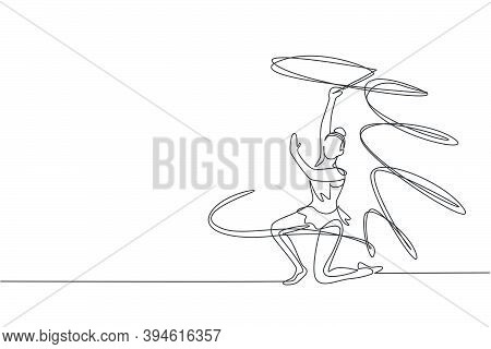 Single Continuous Line Drawing Of Young Beauty Professional Gymnast Girl Perform Dance With Ribbon.