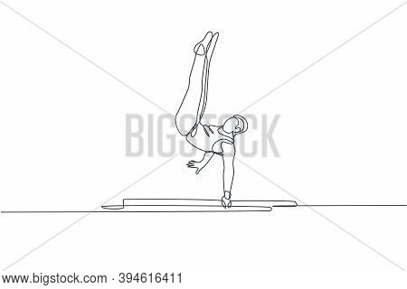 One Continuous Line Drawing Young Man Exercising Parallel Bars At Gymnastic. Gymnast Athlete In Leot