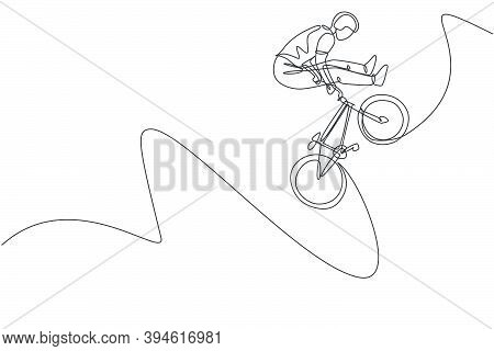 One Continuous Line Drawing Of Young Bmx Bicycle Rider Does Jumping Into The Air Trick At Skatepark.