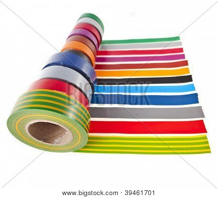 Strips of colourful insulating adhesive tape with roll  isolated on white