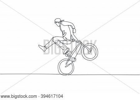 Single Continuous Line Drawing Of Young Bmx Cycle Rider Show Extreme Risky Trick In Skatepark. Bmx F