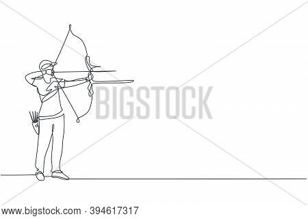 One Continuous Line Drawing Of Young Archer Man Pulling Bow To Shooting An Archery Target. Archery S