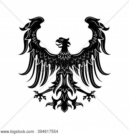 Severe Heraldic Eagle Vector Illustration. Imperial Heraldry, Hawk With Open Wings And Beak, Noble B