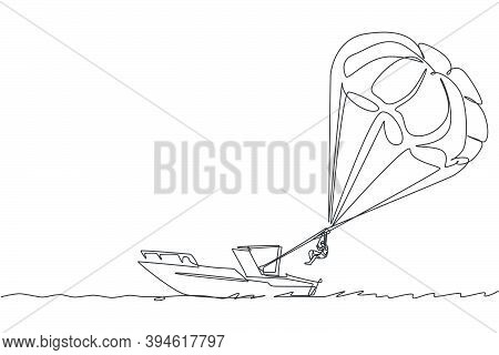 Single Continuous Line Drawing Young Tourist Man Flying With Parasailing Parachute On The Sky Pulled