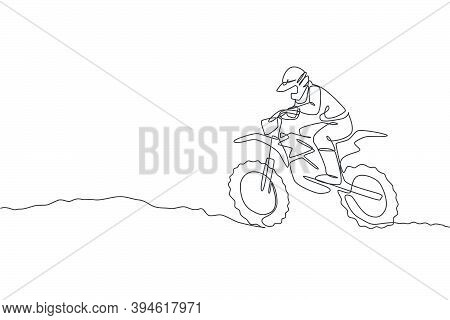One Single Line Drawing Of Young Motocross Rider Conquer Track Obstacles At Race Track Vector Illust