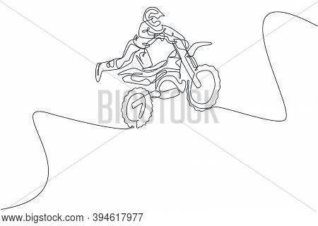 One Single Line Drawing Of Young Motocross Rider Flying Freestyle At Race Track Vector Graphic Illus