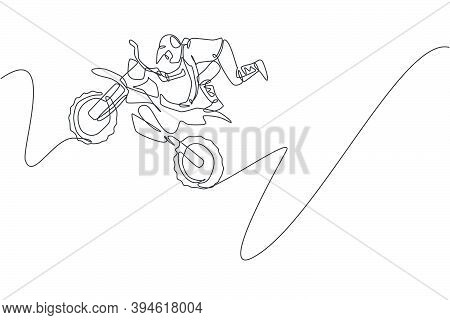 One Continuous Line Drawing Of Young Motocross Rider Acrobatic Flying Jump Into The Air. Extreme Spo