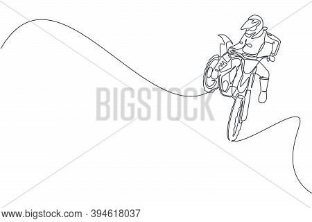 Single Continuous Line Drawing Of Young Motocross Rider Does Dangerous Acrobatic Trick. Extreme Spor
