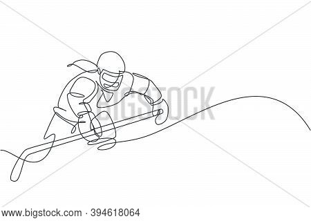 Single Continuous Line Drawing Of Young Professional Ice Hockey Player Hit The Puck And Attack On Ic