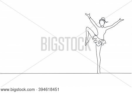 Single Continuous Line Drawing Of Young Beauty Professional Gymnast Girl Perform Floor Exercise. Rhy