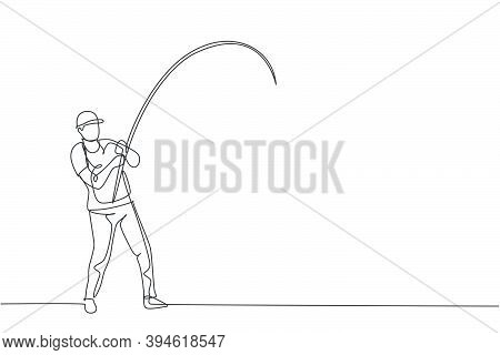 One Single Line Drawing Of Young Happy Fisher Man Standing And Flyfishing At The Riverside Vector Gr