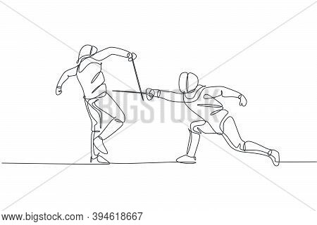 One Continuous Line Drawing Of Two Young Men Fencing Athlete Practice Fighting On Sport Arena. Fenci