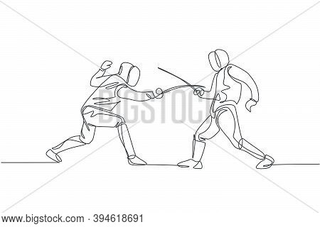 One Continuous Line Drawing Of Two Men Fencing Athlete Practice Fighting On Professional Sport Arena