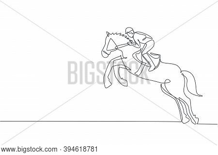 One Continuous Line Drawing Of Young Horse Rider Man In Action. Train Equine To Jump At Racing Track