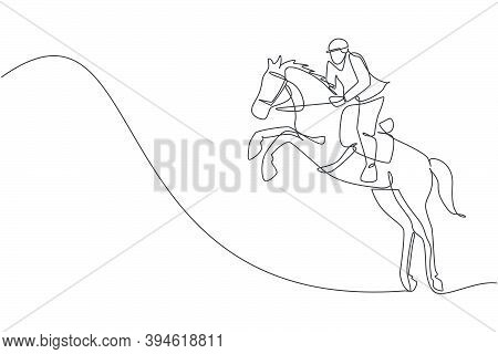 One Continuous Line Drawing Young Horse Rider Man In Jumping Action. Equine Training At Racing Track