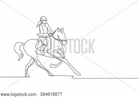 One Continuous Line Drawing Of Young Horse Rider Woman In Action. Equine Run Training At Racing Trac