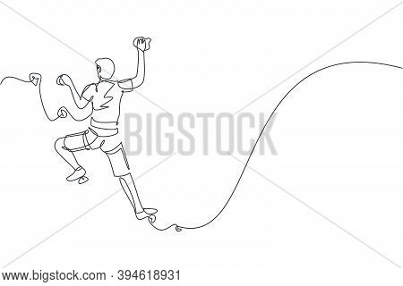 One Continuous Line Drawing Of Young Bravery Climber Man Practice Overhanging Rock Cliff Mountain Wi