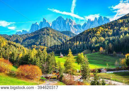 Captivating Scenery In Dolomites With The St. John's In Ranui Chapel.  Location: Santa Maddalena Vil