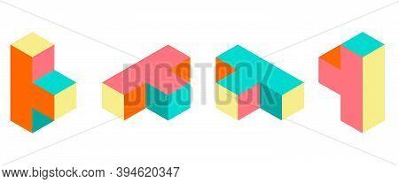 Three Dimension Retro Puzzle Figures Colorful Vector Game Blocks.