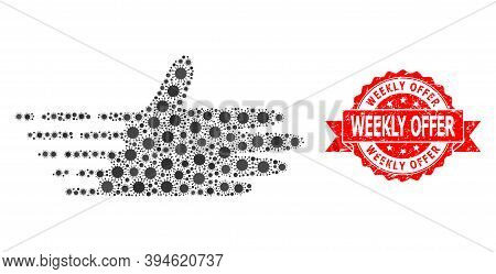 Vector Collage Moving Hand Of Flu Virus, And Weekly Offer Unclean Ribbon Stamp Seal. Virus Elements