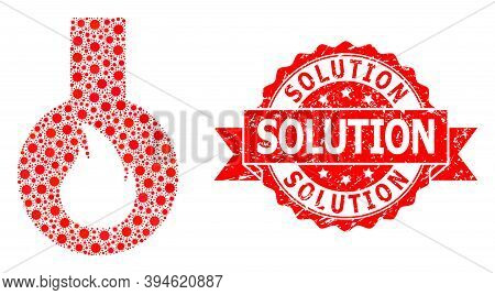 Vector Mosaic Flammable Flask Of Sars Virus, And Solution Dirty Ribbon Stamp Seal. Virus Cells Insid