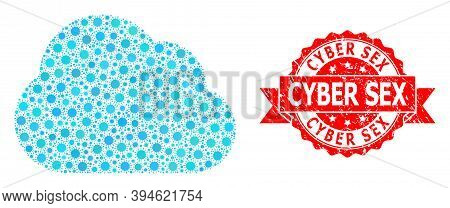 Vector Mosaic Cloud Of Covid-2019 Virus, And Cyber Sex Unclean Ribbon Seal Imitation. Virus Particle
