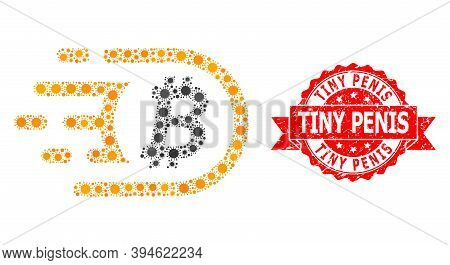 Vector Collage Bitcoin Of Covid-2019 Virus, And Tiny Penis Scratched Ribbon Stamp. Virus Items Insid