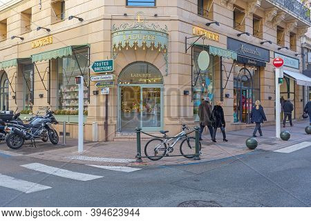 Cannes, France - February 1, 2016: Famous Upscale Bakery Laduree Specializing For French Macarons In