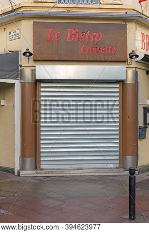 Cannes, France - February 1, 2016: Closed Cafe Le Bistro Croisette In Cannes, France.