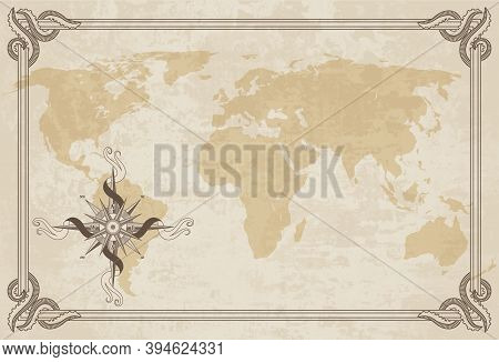 Old World Map. Vector Paper Texture With Border Frame. Wind Rose. Vintage Vautical Compass. Retro De