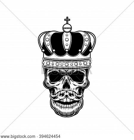 Skull Of Emperor Vector Illustration. Head Of Skeleton With Russian Tsar Crown. Monarchy Or Jewelry
